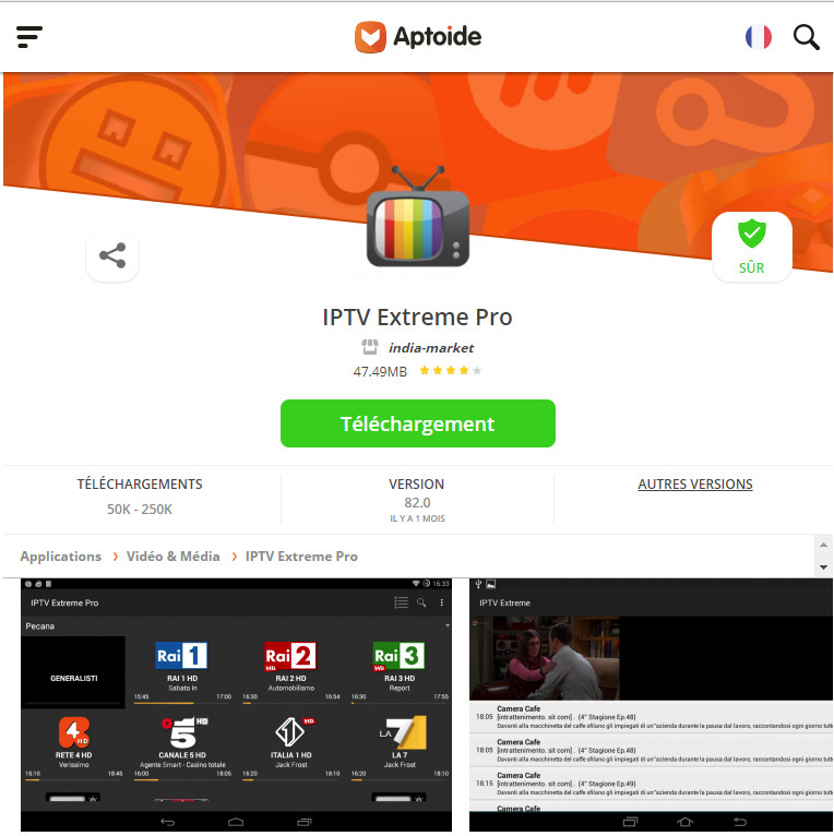 application IPTV Extreme Pro gratuite version APK