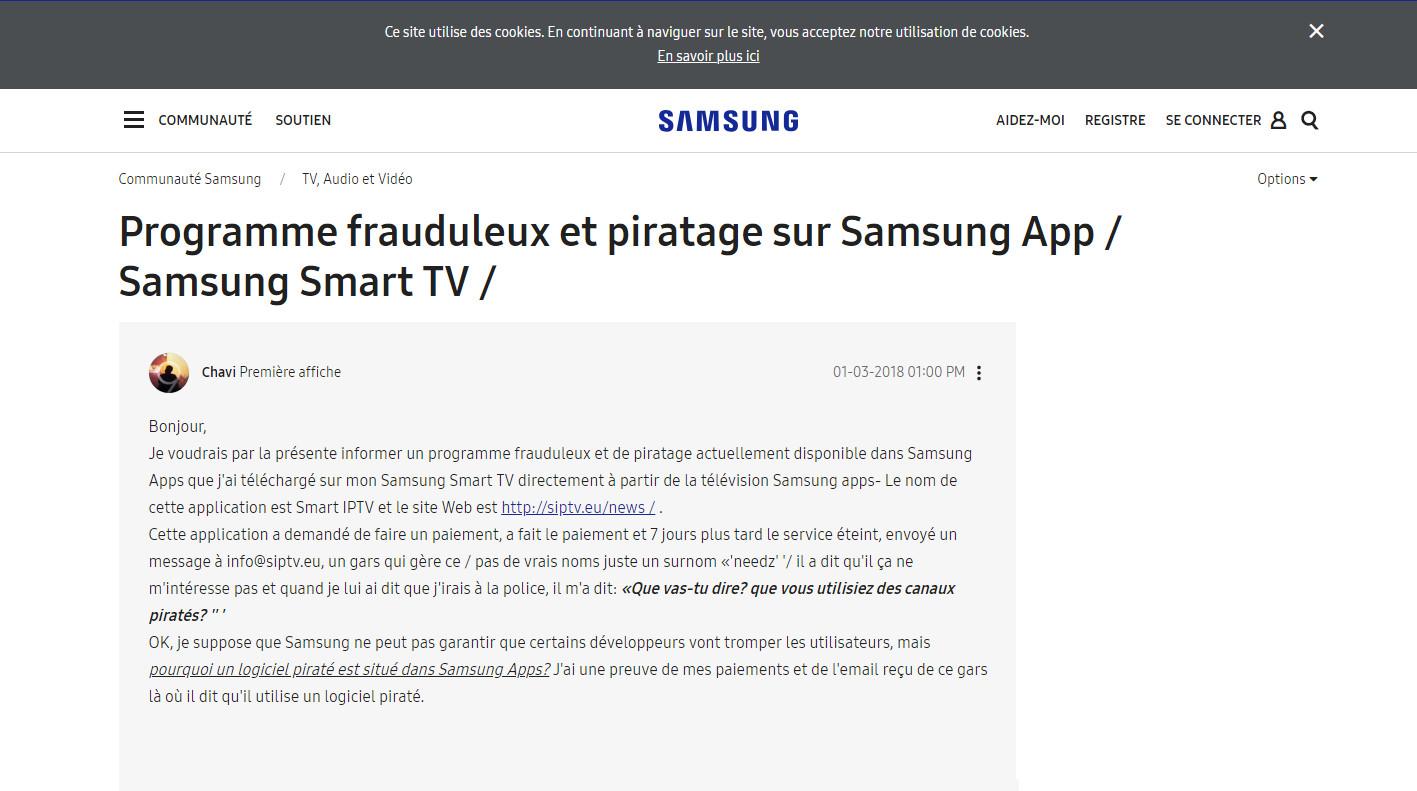 ARRET DE L'APPLICATION SMART IPTV SUR LES MODELES SAMSUNG PRODUITS EN 2018